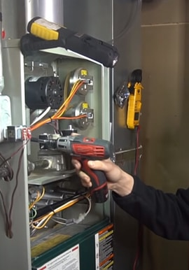 A furnace being repaired